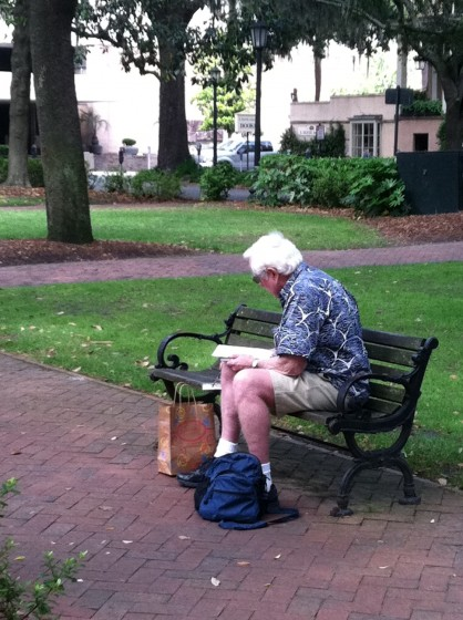 Jerry in Oglethorpe square with his watercolors.