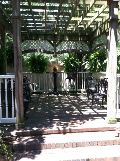 The breakfast gazebo at the Presidents' Quarters B & B.