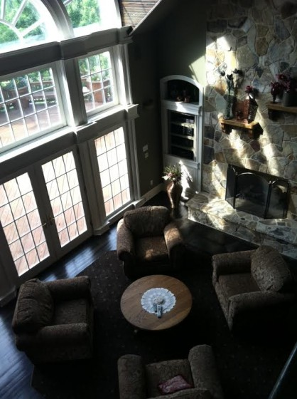 Looking down at the Young Manor living room from upstairs.