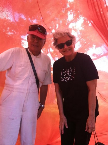 Textile artist Akihiko Izukura with me in one of his silk tunnels on the KCC campus.