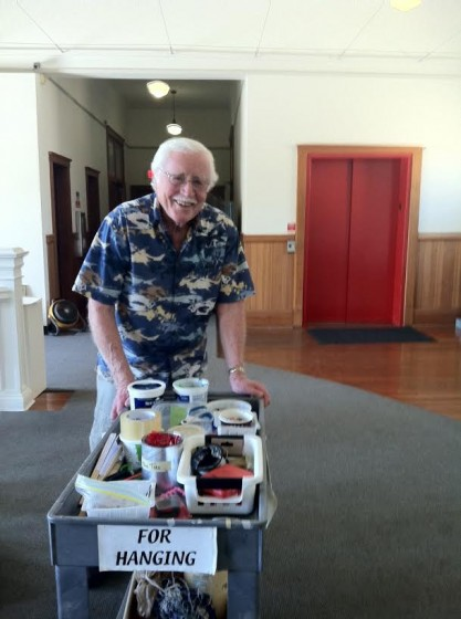 Fortunately, The Honolulu Museum of Art provides most of the materials needed to hang a show. Jerry has hung dozens of shows in a number of venues so he has become quite the expert. Thank goodness!