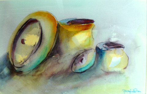 Bell Brass, by Jerry Mayfield, watercolor on rough paper
