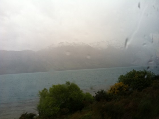 """Rainy day view from the bus to Glenorchy, the area where """"Lord of the Rings"""" was filmed."""