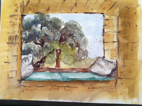 Jerry's painting of a window seat in the Guest House in Waiheke Island.