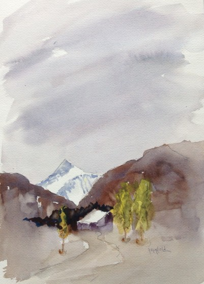 Jerry's painting of the view from our room at Maple Lodge in Wanaka.