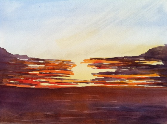 Jerry's painting of a sunset on the Crystal Symphony.