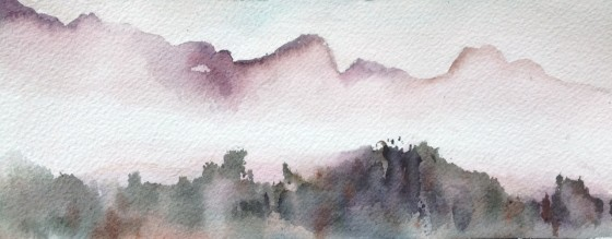Paula's painting of the Remarkable Mountains, near Queenstown, N.Z.