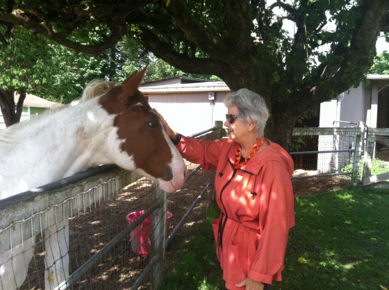 That's me getting a little friendly with Lani's horse, Sailor.