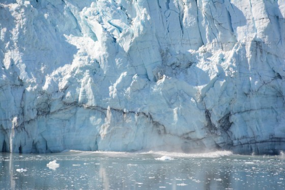 The first sign of Margerie Glacier calving.