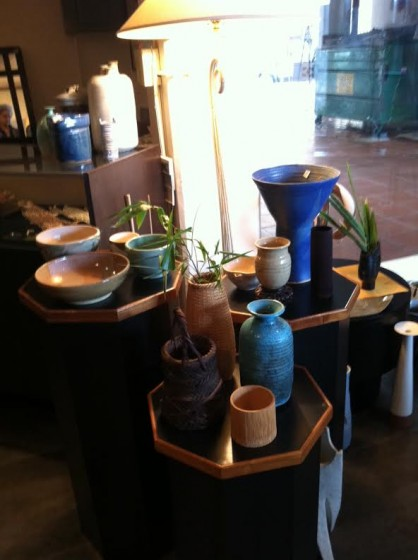 Some of the ikebana vases that will be for sale this weekend.