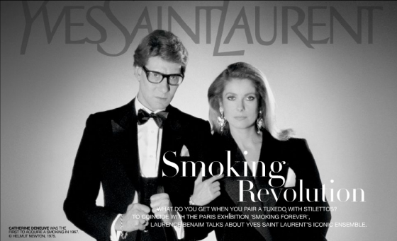 Catherine Deneuve was the first to wear Le Smoking in 1967.