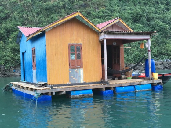 A typical fishing family's house on Ha Long Bay.