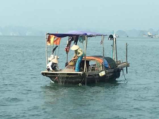 A typical fishing family in Ha Long Bay.