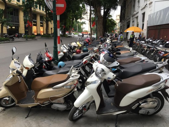 """A typical Hanoi """"parking lot."""""""
