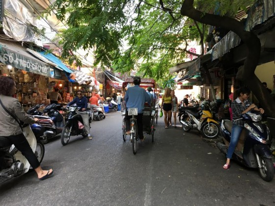 On a Cyclo in  the Old Quarter.