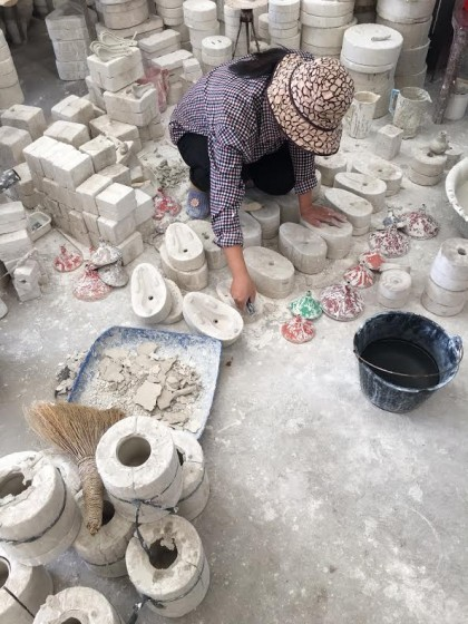 Clay molds are used for many of the designs.