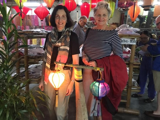 Ruthanne and I with our lanterns, which will adorn our homes in Hawaii and Massachusetts.
