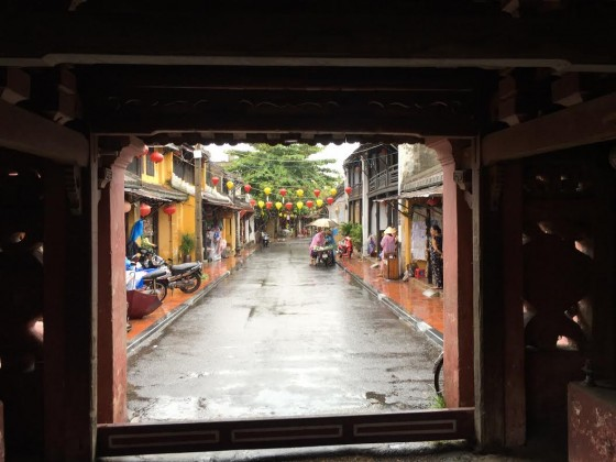 A view from the Japanese bridge in Hoi An. You can see a few of the lanterns off in the distance.