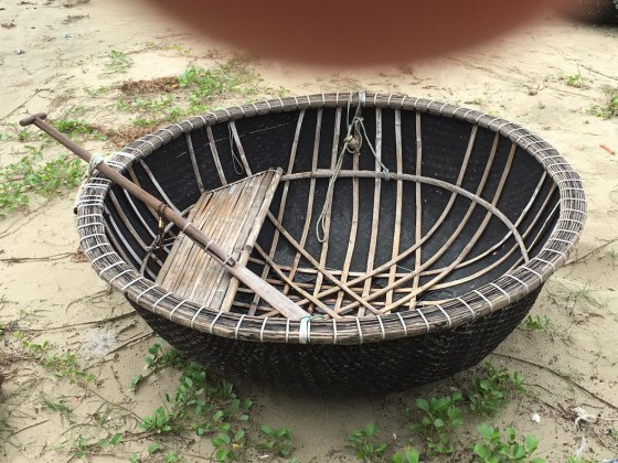 These round basket boats are still used to catch fish. Up to three people can fish in them. Photo by Jerry Mayfield