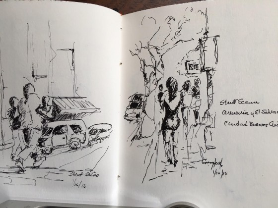 While I was shopping in Palermo Soho, Jerry sketched a street scene. What talent!