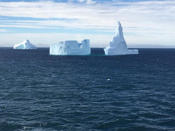 Some clusters of icebergs look like castles in the sea.