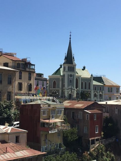 A typical city view of hilly Valparaiso.