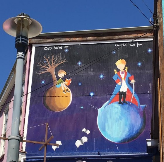 Valparaiso's graffiti, like this of The Little Prince, is often adorable and artful.