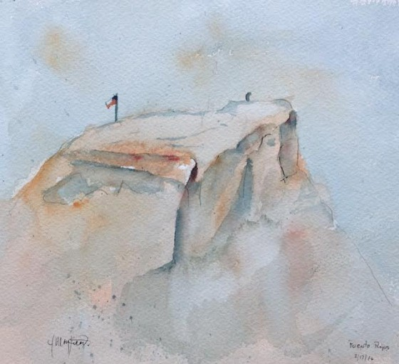 A view off our ship's veranda of a huge rock on the coast of Chile. Watercolor by Jerry Mayfield