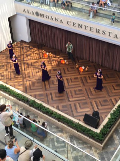 A hula halau performs at Center Stage.