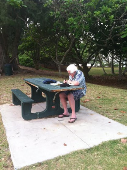 Jerry goes holo holo to find a picturesque place to sketch and paint en plein air. Here he is at Malekahana Beach Park.