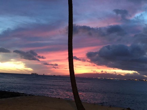 The sunset near Kaimana Beach.