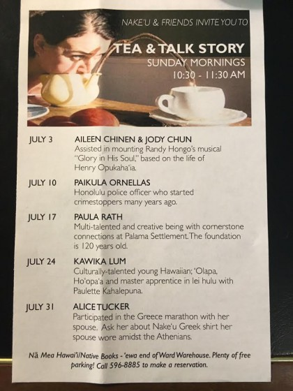 Tea and Talk Story flyer