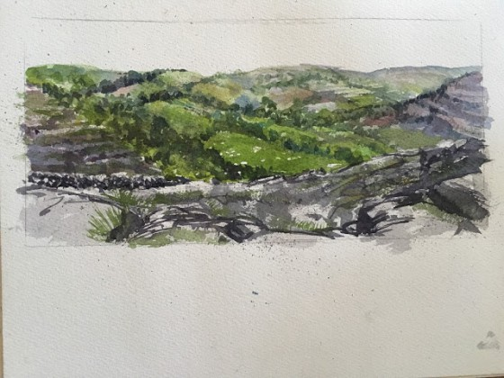 Crystal's painting of the scene in The Burren. Photo by Crystal Beshara