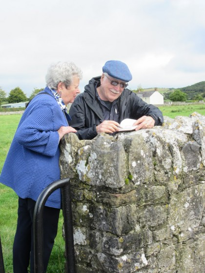 Jerry with Helen sharing his sketchbook. Photo by Michael Shepard