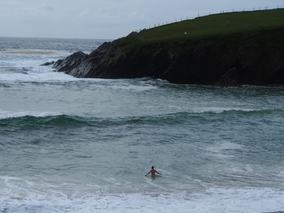 A chilly swim - definitely not the Pacific! Photo by Debbie Blum