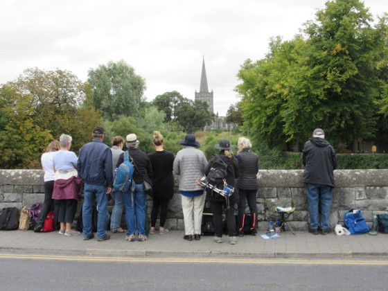 In Cahir, we stood on  a bridge and painted the water and a church spire. Photo by Michael Shepard
