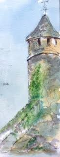 Jerry's water color of Cashel Rock in Cahir. This was our first day plein air painting with the group.