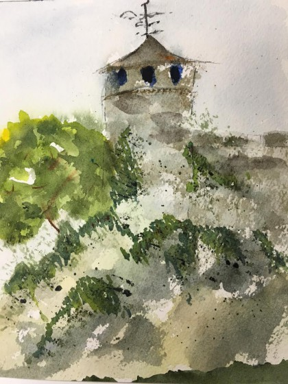 Paula's painting of Cahir Castle.