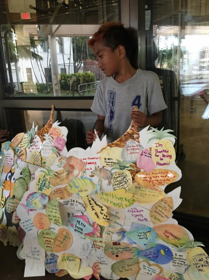 The keiki gave thanks for their families, their teachers, and a plethora of other aspects of their lives.