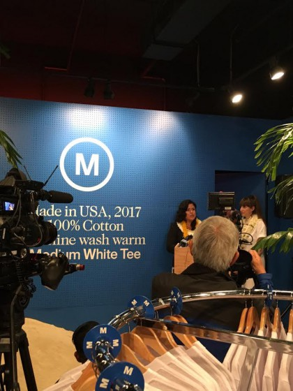 Maya Soetoro-Ng, President Obama's sister, joined artist Emily Spivack at the podium during the media introduction for Medium White Tee.